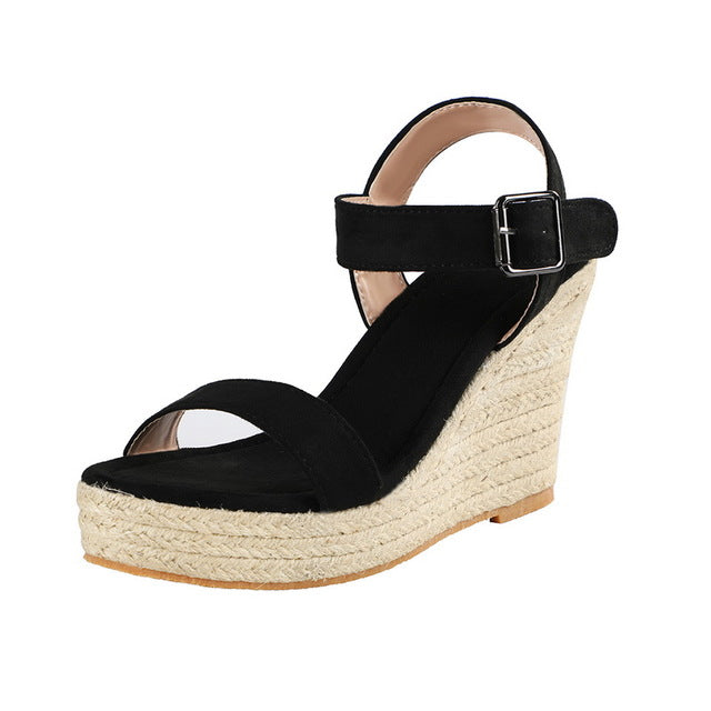 Peep Toe Ankle Buckles Platform Sandals