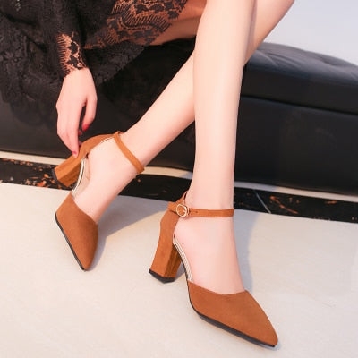pointed ankle strap block heels