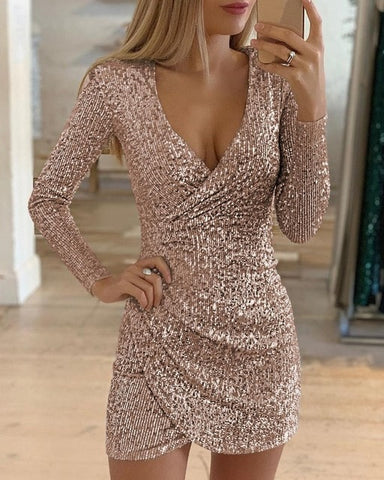 Wrap Ruched Sequins Bodycon Dress