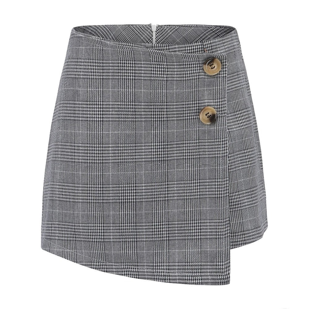 checkered high waist skirt shorts