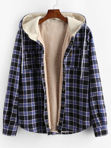 Plaid Chest Pocket Fleece Hooded Jacket