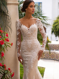 Illusion Long Sleeves V-neck Lace Applique Backless Dress