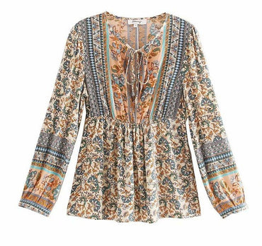 Vintage chic bohemian floral printed V-neck lace-up blouse