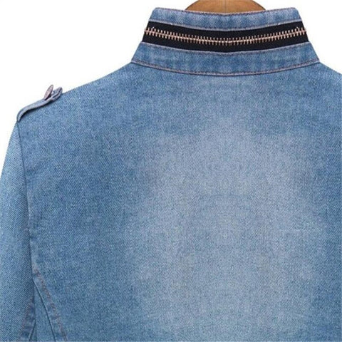 Long Sleeve Zipper Denim Jacket