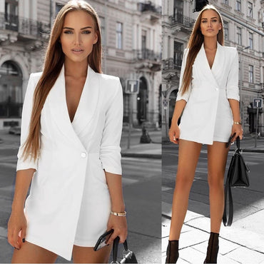Casual Seventh Sleevele Suit Jacket Loose Shorts rompers
