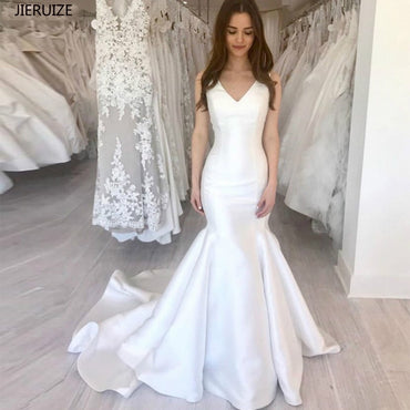 White Satin Mermaid Simple Wedding Dresses