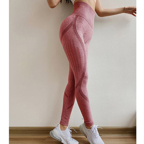 Seamless Hollow Tights High Waist Elastic Sports Leggings
