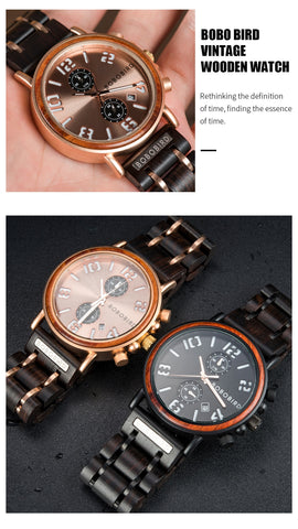 Multi-function Wood Watch