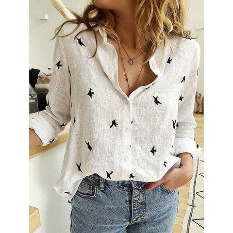 Animal Prin  Casual Loose Women Blouses