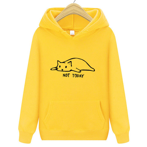 hipster funny Lazy cat printed hooded hoodies