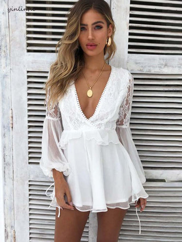 White Transparent Sexy Short backless Rompers