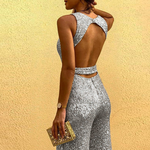 Sleeveless Sequin Glitter Shiny Trousers Wide Leg Pants Jumpsuits