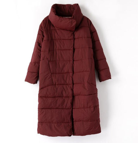 Cotton Padded Stand Colar Parka Zipper Jacket