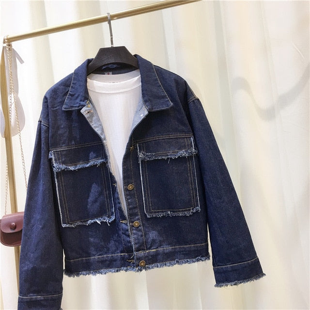 Loose Egde Frayed Denim Jacket