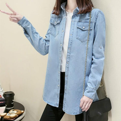 Turn-Down Collar Long Denim Jacket