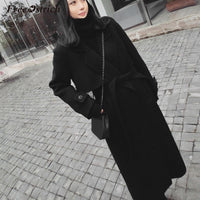 Belt Slim Woolen Coat