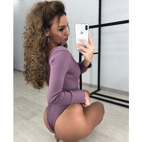 Stretch Leotard Long Sleeve Bodysuit