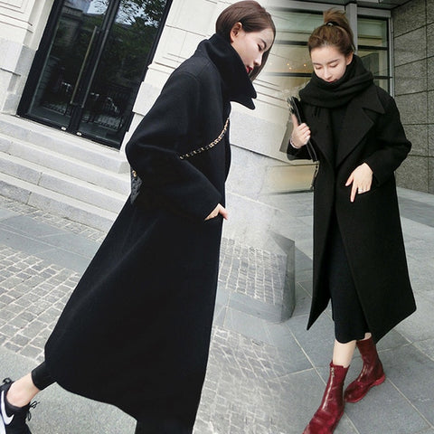 Solid Color Wide Lapel Pocket Trench Coat