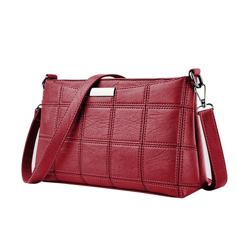 Leather Plaid Messenger Handbag