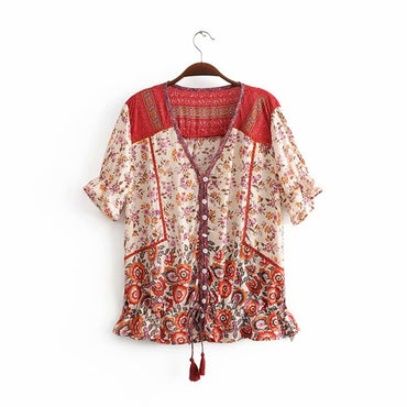 Vintage Chic Happie  floral printed bohemian beach blouse