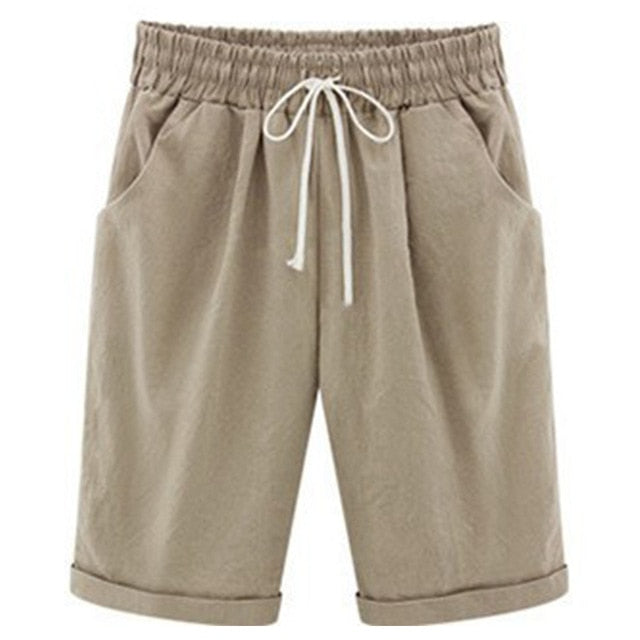 Wide Leg Draw String Knee Length Shorts