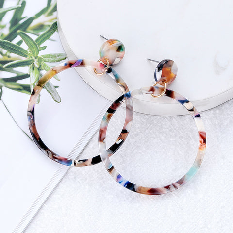 New Acrylic Resin Long Big Circle Earrings