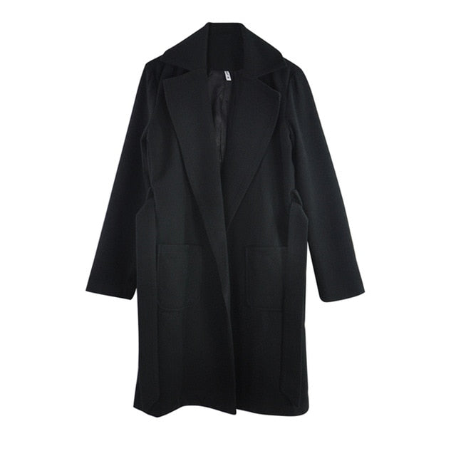 lapel 2 pockets belted solid color coats