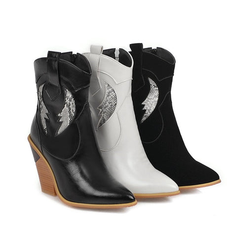 pointed high-heeled cowboy boots
