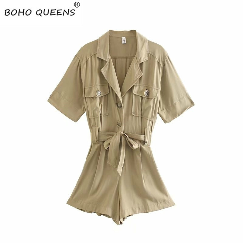short sleeve pockets loose Rompers