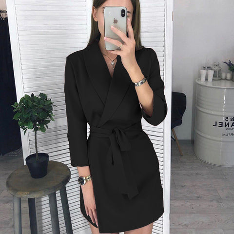 V Neck Sashes Elegant Black Blazer Dress