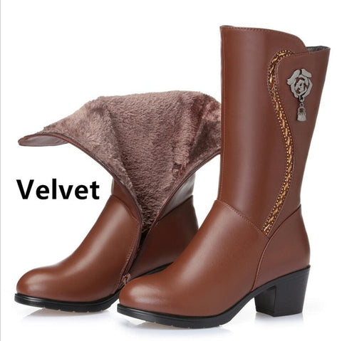 genuine leather wool boots