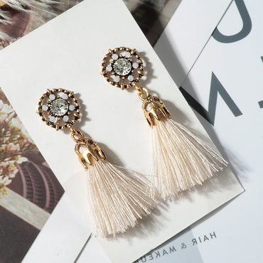 Bohemian Tassel Crystal Tiny Drop Earrings