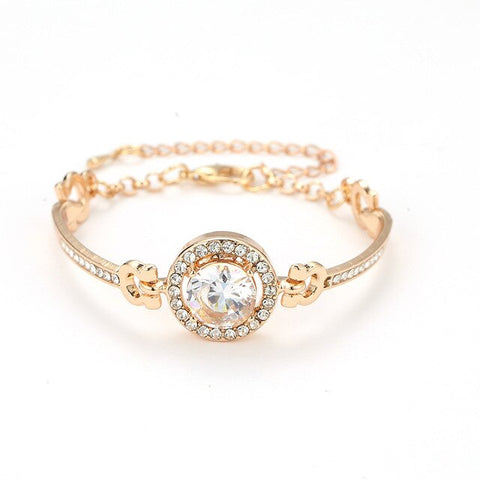 Rose Gold Color Clear Austrian Crystal Bracelets & Bangles