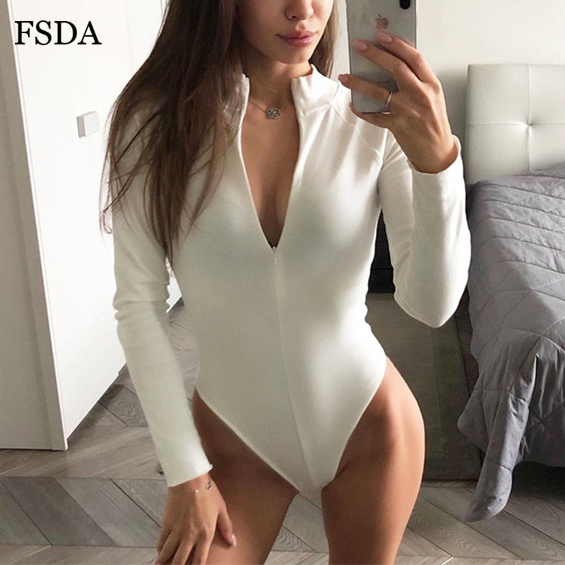 Zip Up Long Sleeve White Sexy Bodysuit