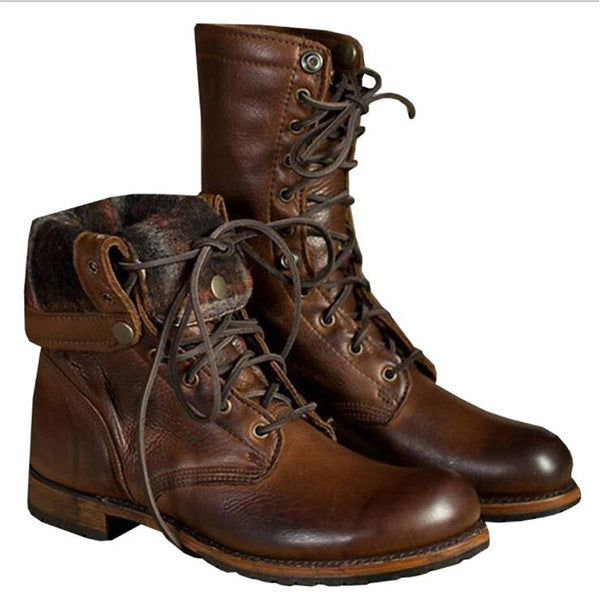 Fashion Retro Mid- Calf Motorcycle Punk Boots