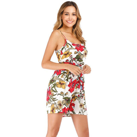 Floral Print Spaghetti Strap Rompers