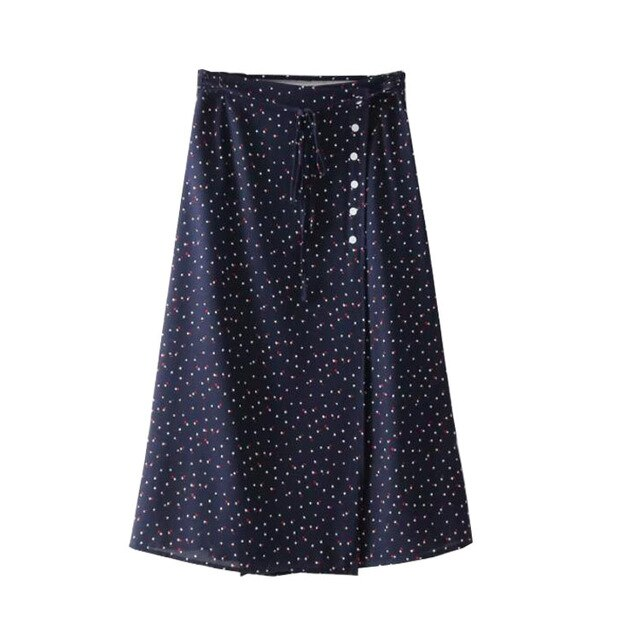 vintage high waist midi button skirt
