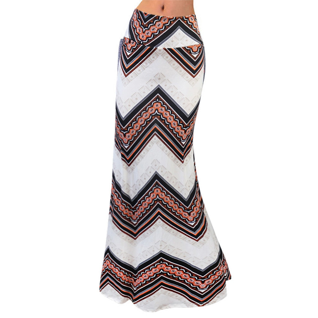 Long Gypsy Boho Elastic Skirt