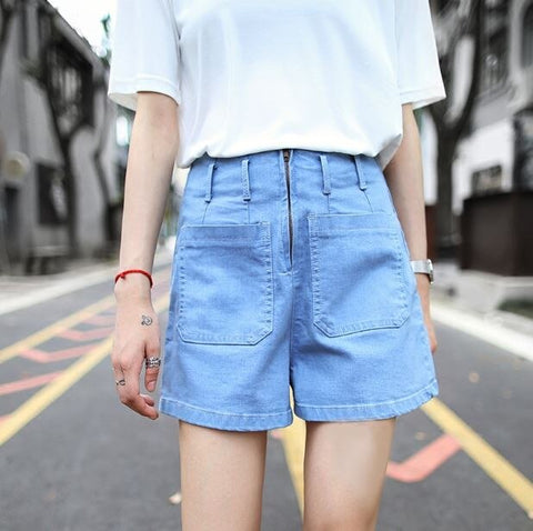 Beach Front Zipper Pockets High Waist Shorts
