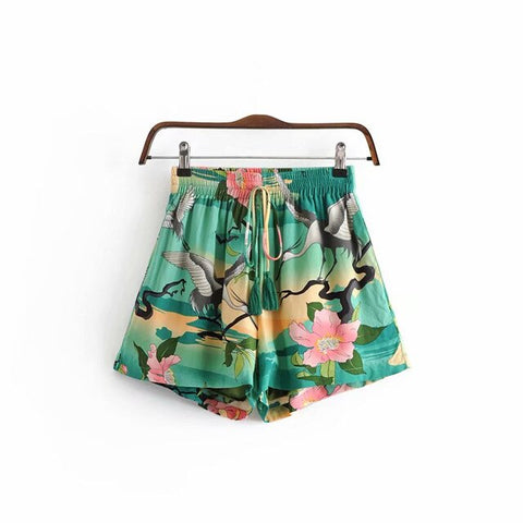print sashes bohemian shorts