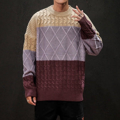 Fashion Hit Color Retro O-neck Knit Pullover Knitting Sweaters