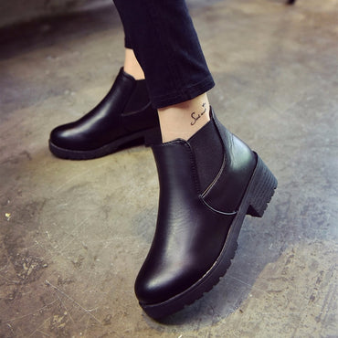 Leather Low Flat Block Heel Chelsea Ankle Boots