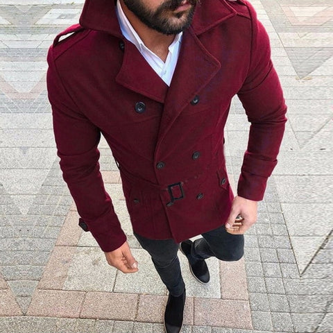 Wool Button Solid Color Long Sleeved Windbreaker Wool Coat