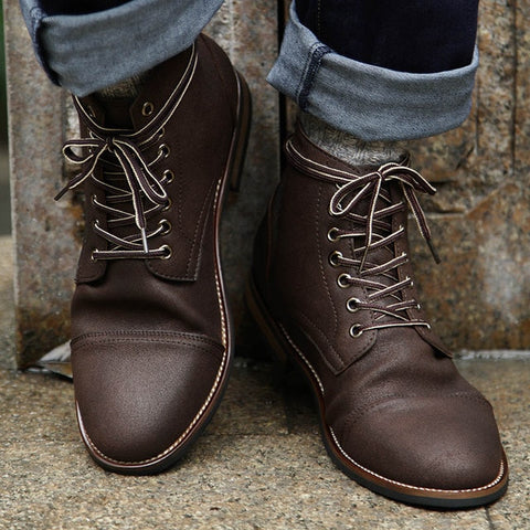 Pu Leather Lace-up Vintage British Military Boots