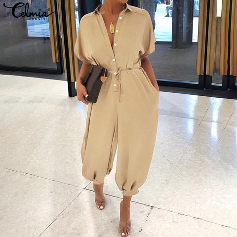 Casual Loose Buttons Cargo Pants Jumpsuits