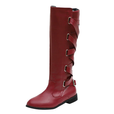 Cross Strap Long Snow Knee High Bootie