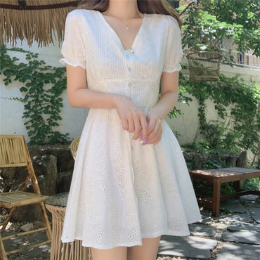 White Button Hollow Out Cotton Dress