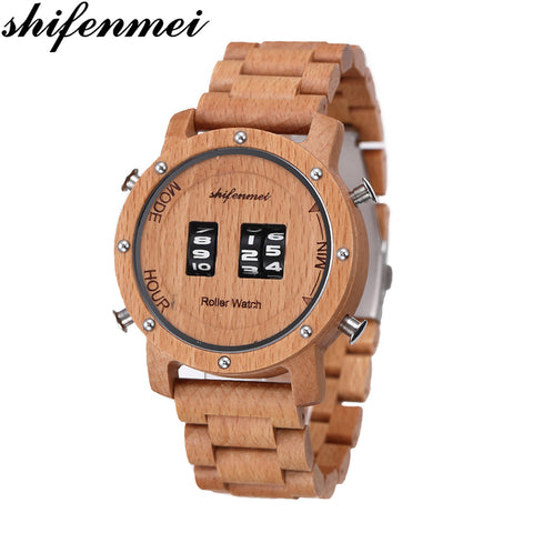 Roller Top Luxury Wooden Band Classic Wristwatch