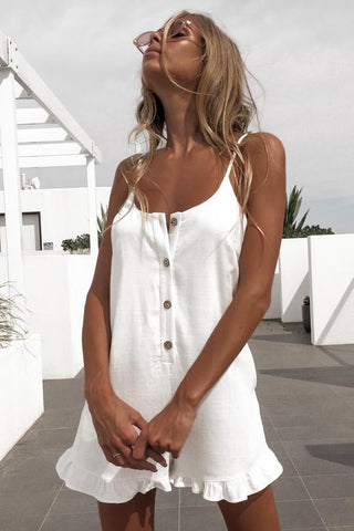 Sexy Sleeveless Button Ruffled Off Shoulder Halter Romper