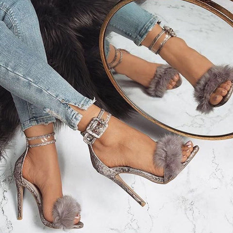 Fur Ankle Strap Gladiator Shoes